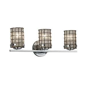Wire Glass - Atlas Polished Chrome Three-Light Bath Vanity with Grid and Clear Bubbles Wire Cage and Blown Glass