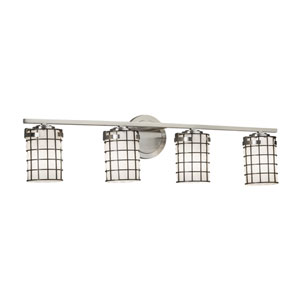 Wire Glass - Atlas Brushed Nickel Four-Light Bath Vanity with Grid and Opal Wire Cage and Blown Glass