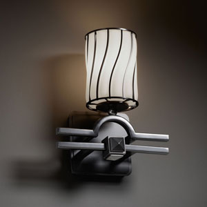 Wire Glass Argyle Matte Black Wall Sconce
