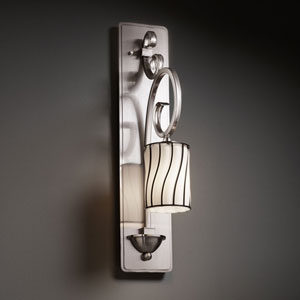 Wire Glass Victoria Brushed Nickel Tall Wall Sconce