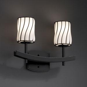 Wire Glass Archway Two-Light Matte Black Bath Fixture