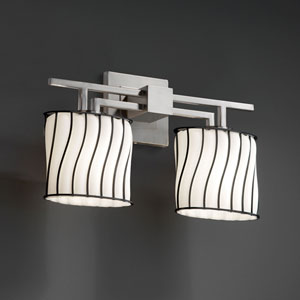 Wire Glass Aero Two-Light Brushed Nickel Bath Fixture