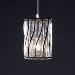 Wire Glass Modular Matte Black Mini Pendant