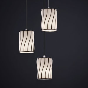 Wire Glass Modular Three-Light Brushed Nickel Cluster Mini Pendant
