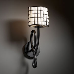 Wire Glass Capellini Matte Black Wall Sconce