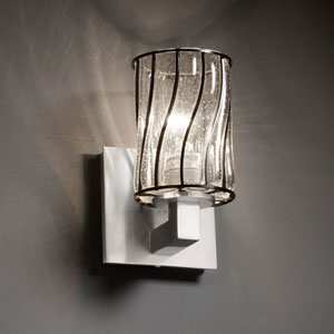 Wire Glass Modular Brushed Nickel Wall Sconce