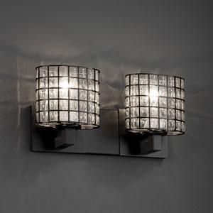 Wire Glass Modular Two-Light Dark Bronze Bath Fixture