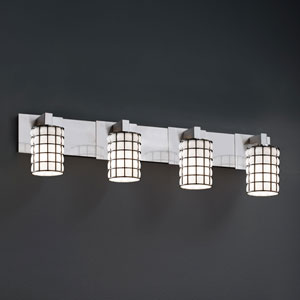 Wire Glass Modular Four-Light Brushed Nickel Bath Fixture