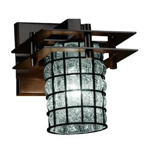 Wire Glass Dark Bronze One-Light Flat Rim Cylindrical Wall Sconce with Clear Bubble Glass