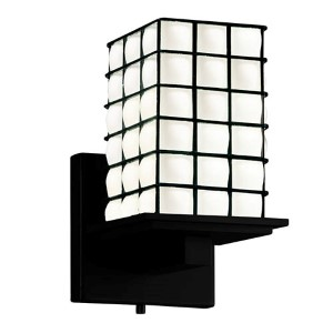 Wire Glass Matte Black 5.25-Inch One-Light Flat Rim Square Wall Sconce with Opal Glass