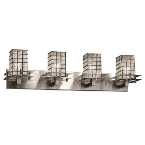 Wire Glass Brushed Nickel Four-Light Bath Bar