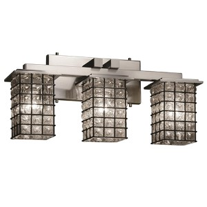 Wire Glass Brushed Nickel Three-Light Bath Bar