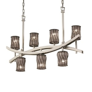 Wire Glass Brushed Nickel Seven-Light Flat Rim Cylinder Crossbar Chandelier