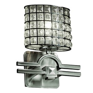 Wire Glass Brushed Nickel One-Light Oval Wall Sconce with Clear Bubble Glass