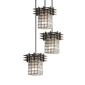Wire Glass Matte Black Three-Light Flat Rim Square Cluster Mini Pendant with Three Flat Bars and Grid Clear Bubbles Glass