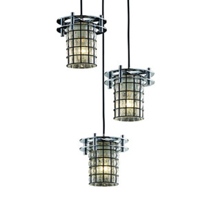 Wire Glass™  Matte Black Three-Light Pendant with Grid Bubbles Glass