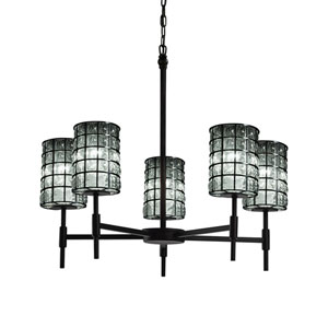 Wire Glass  Matte Black 24-Inch LED Chandelier