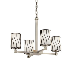 Wire Glass Brushed Nickel 21-Inch LED Chandelier