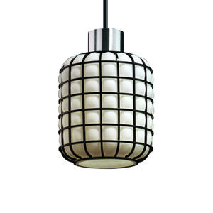 Wire Glass™  Matte Black One-Light Mini Pendant with Grid with Opal Glass