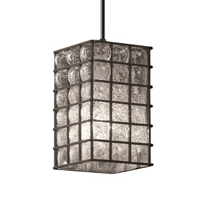 Wire Glass Dark Bronze One-Light Flat Rim Square Mini Pendant with Grid Clear Bubbles Glass