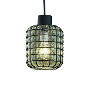 Wire Glass™  Polished Chrome One-Light Mini Pendant with Grid and Bubbles Glass