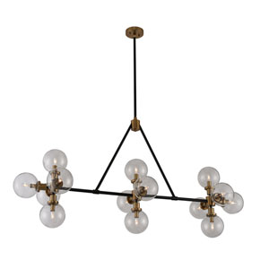 Cameo Matte Black With Nickel Accents 14-Light Island Pendant