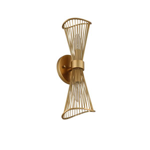 Aurora Nordic Brass Two-Light Wall Sconce