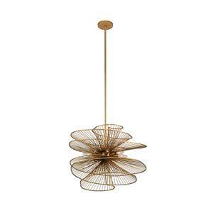 Aurora Nordic Brass Eight-Light Pendant