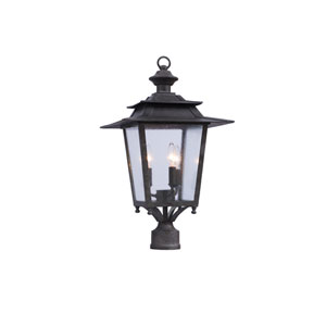 Saddlebrook Outdoor Aged Iron Three-Light Post Mount