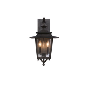 Saddlebrook Outdoor Aged Iron Two-Light Wall Sconce