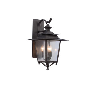 Saddlebrook Outdoor Aged Iron Three-Light Wall Sconce