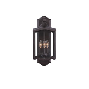 Lakewood Outdoor Aged Iron Three-Light Wall Sconce