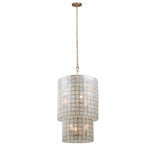 Roxy Gold Leaf 21-Inch Six-Light Pendant