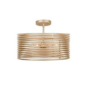 Emery Modern Gold Three-Light Semi-Flush Mount