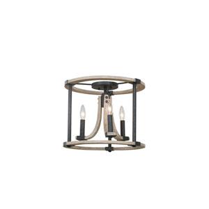 Middleton Natural Iron Three-Light Flush Mount