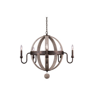 Harper Florence Gold 32-Inch Five-Light Globe Chandelier