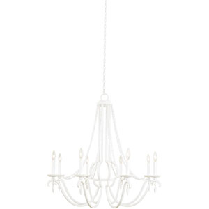 Acadia Distressed White Eight-Light Chandelier
