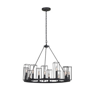 Allston Black Iron 12-Light Chandelier