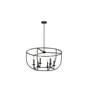 Newhall Black Iron Six-Light Pendant
