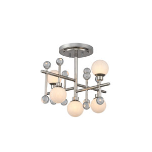 Mercer Polished Nickel Five-Light LED Semi-Flush Mount