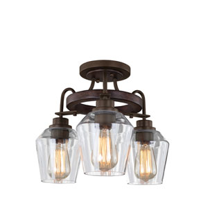 Allegheny Brownstone Three-Light Semi-Flush Mount