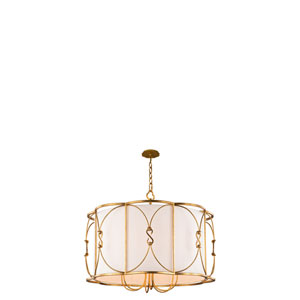Olivia Oxidized Gold Leaf 26-Inch Six-Light Pendant