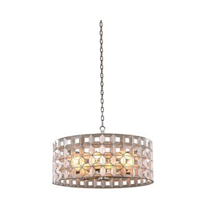 Prado Oxidized Silver Leaf 26-Inch Six-Light Pendant