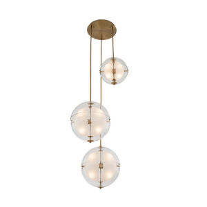 Sussex Winter Brass 12-Light LED Pendant