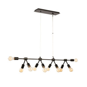 Union Matte Black 10-Light Chandelier