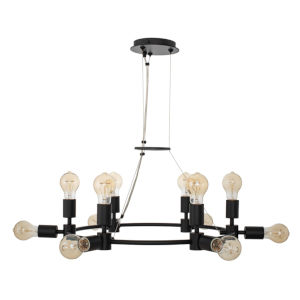 Union Matte Black 12-Light Chandelier