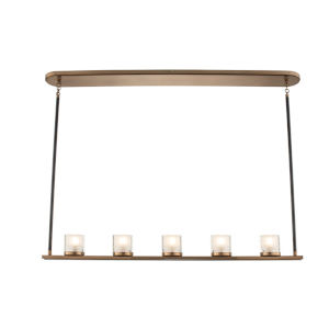 Library Library Brass Five-Light LED Mini Chandelier