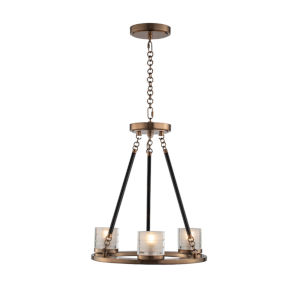 Library Library Brass Three-Light LED Chandelier