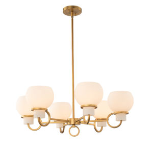 Ascher Winter Brass Six-Light Chandelier