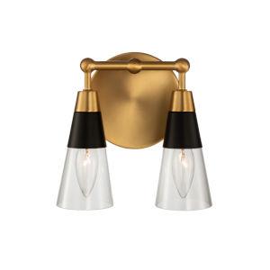 Ponti Matte Black with New Brass Two-Light ADA Bath Vanity